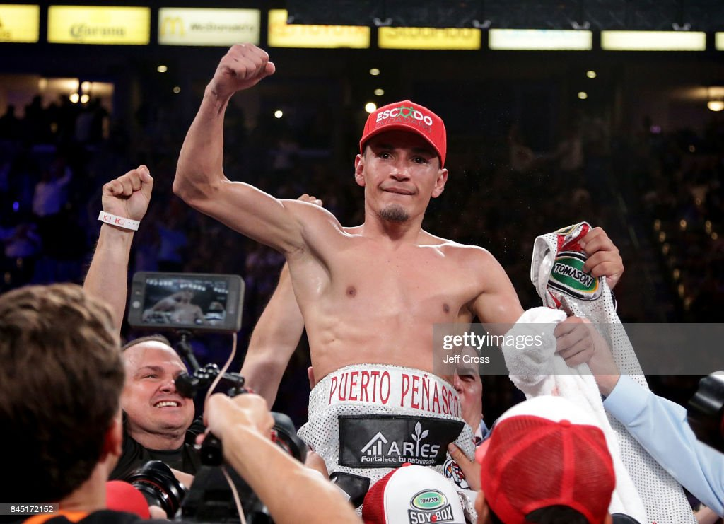 Juan Francisco Estrada of Mexico celebrates his victory over Carlos Cuadras of Mexico at StubHub Center on September 9, 2017 in Carson, California.