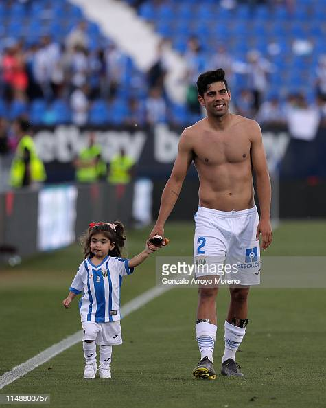 Juan Francisco Moreno Fuertes of Deportivo Leganes takes the hand ...