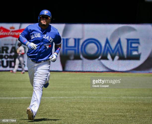 TORONTO ON JULY 24 Juan Francisco of the Toronto Blue Jays hit a two run homer in the bottom of the third to make it 50 as the Toronto Blue Jays...