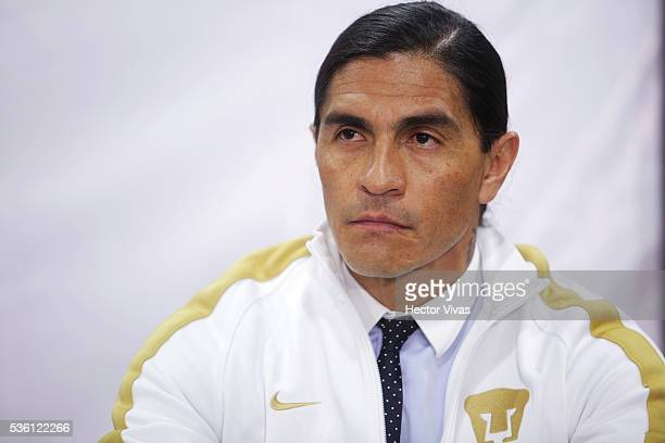 Juan Francisco Palencia coach of Pumas UNAM looks on during a Press Conference to unveil Juan Francisco Palencia as new coach of Pumas UNAM at...