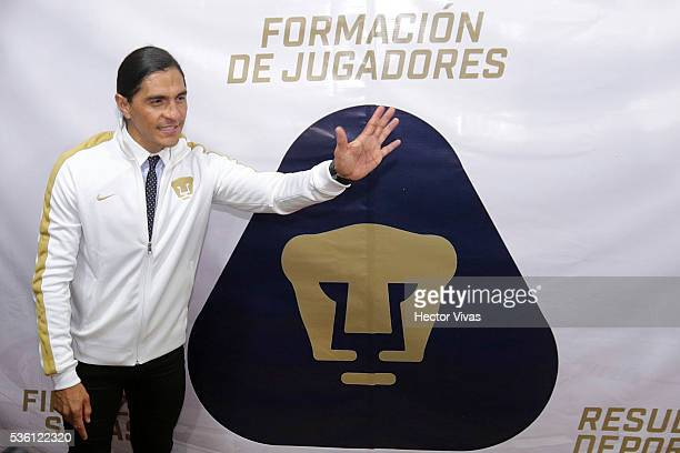 Juan Francisco Palencia coach of Pumas UNAM poses during a Press Conference to unveil Juan Francisco Palencia as new coach of Pumas UNAM at Olimpico...
