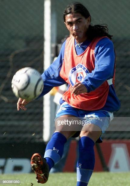 Juan Francisco Palencia of Mexico's Cruz Azul kicks the ball during a training session at the Independiente Club in Buenos Aires Argentina 26 June...