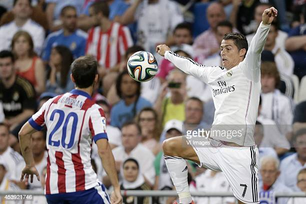 Juan Francisco Torres Belen Juanfran of Atletico de Madrid Cristiano Ronaldo of Real Madrid during the Spanisch Super Cup match between Real Madrid...