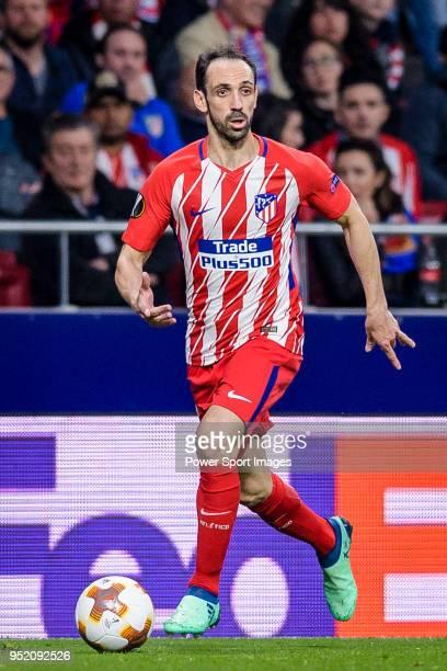 Juan Francisco Torres Belen Juanfran of Atletico de Madrid in action during the UEFA Europa League quarter final leg one match between Atletico...