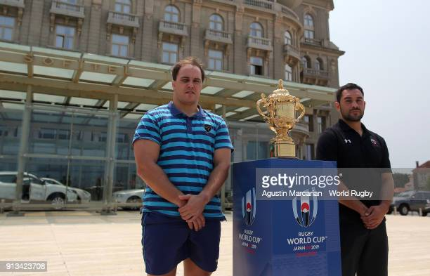 Juan Gaminara captain of Uruguay and Phil Mack captain of Canada pose before a press conference at Sofitel ahead of Rugby World Cup 2019 Qualifier...