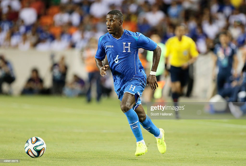 Juan Garcia #6 of Honduras in action during their Road to Brazil match against Isreal at BBVA Compass Stadium on June 1, 2014 in Houston, Texas.