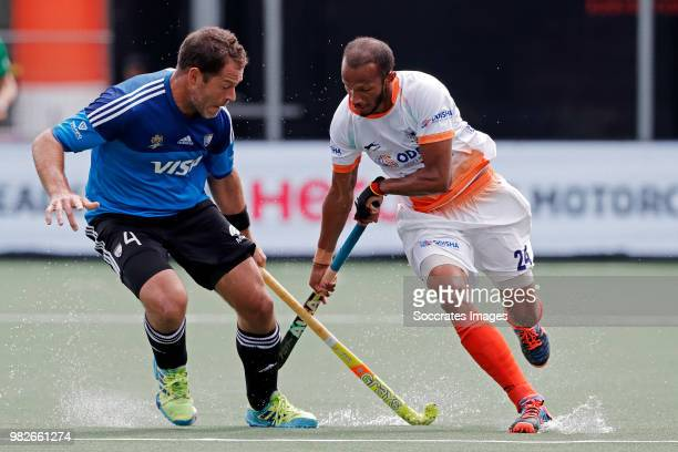 Juan Gilardi of Argentina Sunil Sowmarpet of India during the Champions Trophy match between India v Argentinia at the Hockeyclub Breda on June 24...