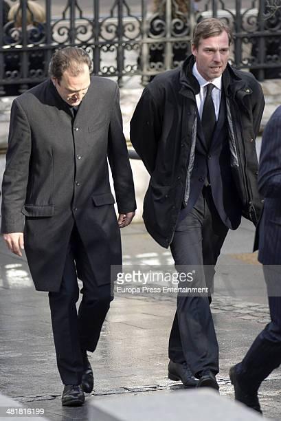 Juan Gomez Acebo and Beltran Gomez Acebo arrive for the state funeral ceremony for former Spanish prime minister Adolfo Suarez at the Almudena...