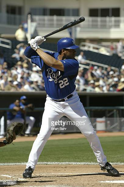 Juan Gonzalez of the Kansas City Royals bats during the game against the Colorado Rockies on March 7 2004 at Surprise Stadium in Surprise Arizona The...