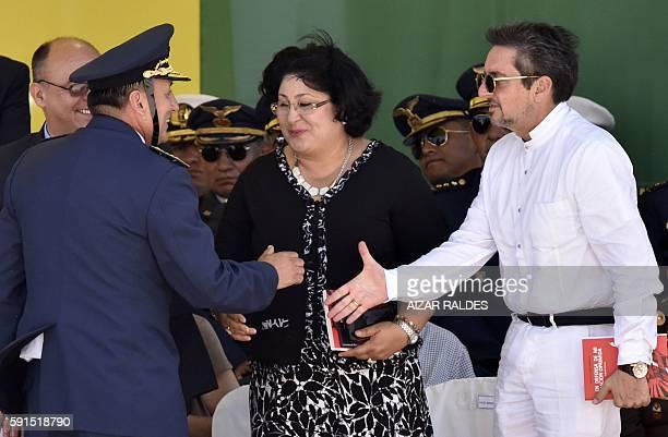 Juan Gonzalo Duran commanderinchief of the Bolivian army greets Nicaraguan Defense Minister Martha Ruiz Sevilla and Ecuador's Deputy Minister of...