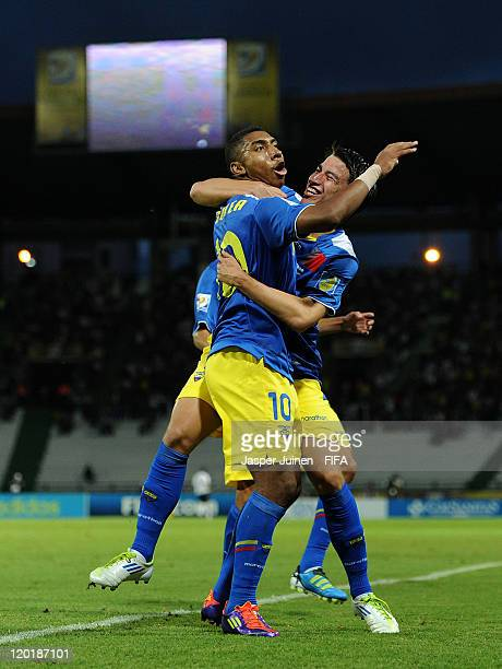 Juan Govea of Ecuador celebrates scoring his sides opening goal with his teammate Fernando Gaibor during the FIFA U20 World Cup Colombia 2011 group C...