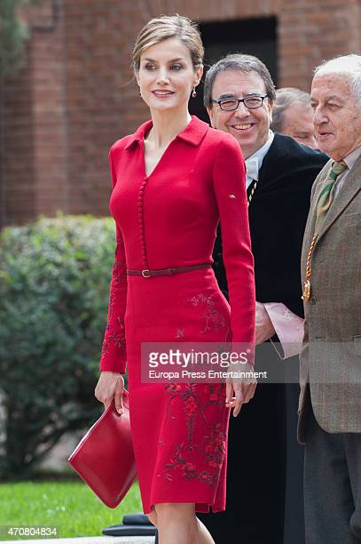 Juan Goytisolo and Queen Letizia of Spain attend Cervantes Award Ceremony at Alcala de Henares University on April 23 2015 in Alcala de Henares Spain