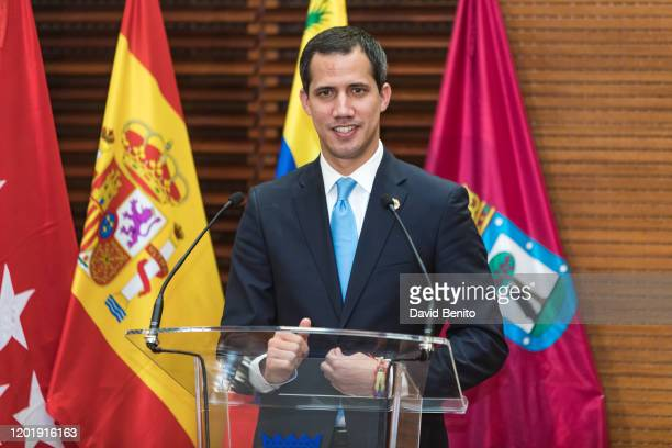 Juan Guaidó, Venezuelan opposition leader holds a press conference after receiving The Golden Key of Municipalism at the Palacio de Cibeles on...