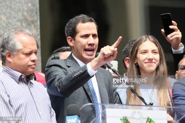 Juan Guaidó who has appointed himself interim president speaks during a meeting with deputies media and supporters organized by the National Assembly...