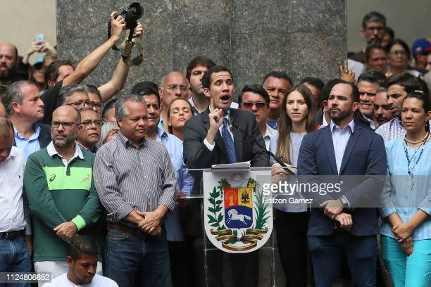 Juan Guaidó, who has appointed himself interim president speaks during a meeting with deputies, media and supporters organized by the National...