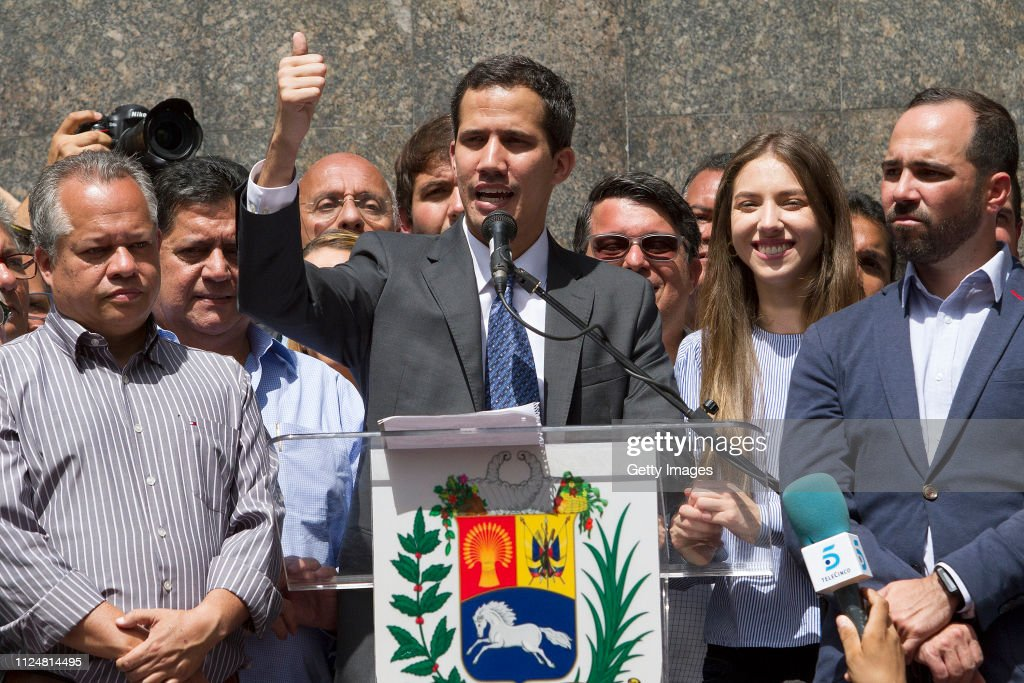 Juan Guaidó Self-proclaimed Interim President of Venezuela Meeting With Deputies and the Media : News Photo