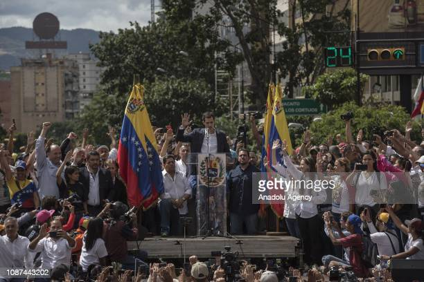 Juan Guaido President of National Assembly declares himself interim president in front of hundreds of Venezuelan during a mass rally against Nicolas...
