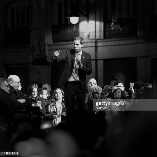 Juan Guaido president of the National Assembly who swore himself in as the leader of Venezuela speaks during a rally at Sol Square in Madrid Spain on...