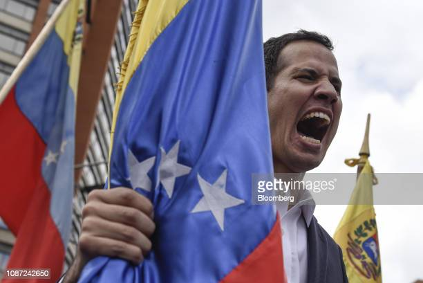 Juan Guaido president of the National Assembly yells during a proopposition rally in Caracas Venezuela on Wednesday Jan 23 2019 President Donald...
