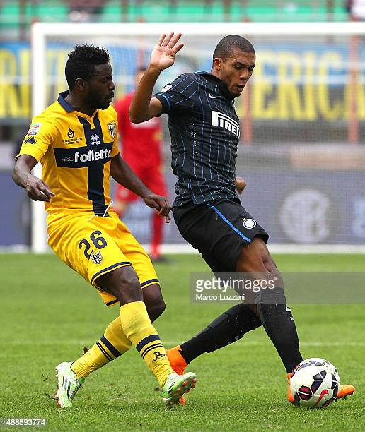 Juan Guilherme Nunes Jesus of FC Internazionale Milano competes for the ball with Silvestre Varela of Parma FC during the Serie A match between FC...