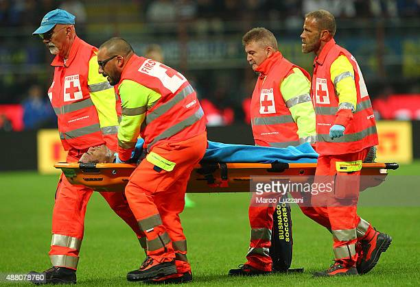 Juan Guilherme Nunes Jesus of FC Internazionale Milano is helped from the pitch after sustaining an injury during the Serie A match between FC...