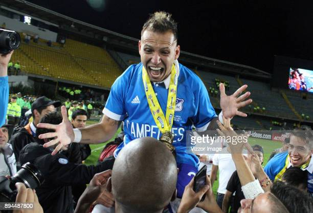 Juan Guillermo Dominguez of Millonarios celebrates after winning the second leg match between Millonarios and Santa Fe as part of the Liga Aguila II...