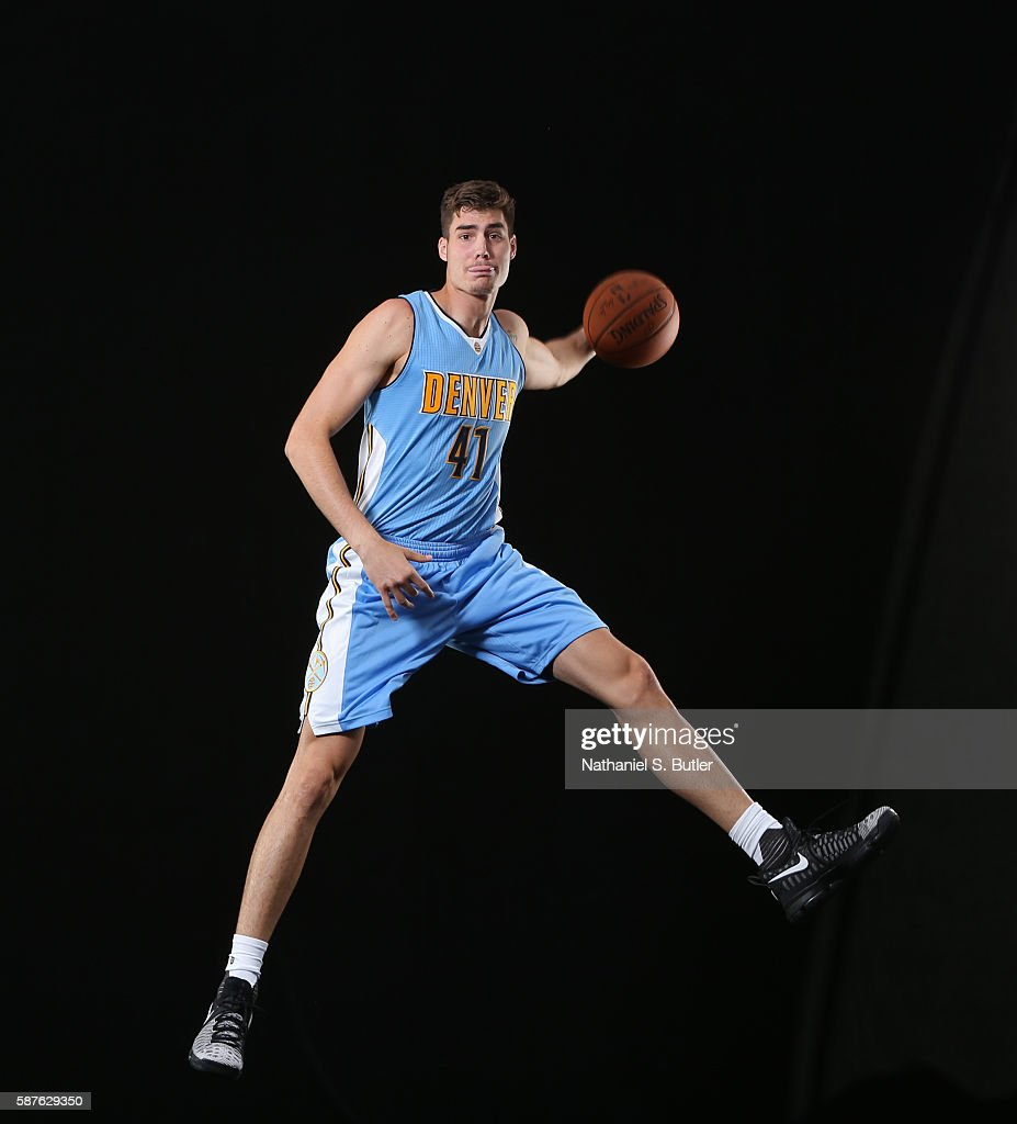 Juan Hernangómez #41 of the Denver Nuggets poses for a photo during the 2016 NBA Rookie Shoot on August 7, 2016 at the Madison Square Garden Training Center in Tarrytown, New York.