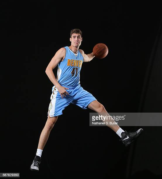 Juan Hernangómez of the Denver Nuggets poses for a photo during the 2016 NBA Rookie Shoot on August 7 2016 at the Madison Square Garden Training...