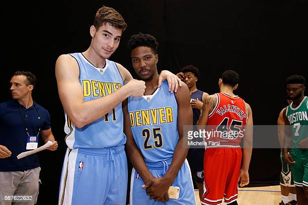 Juan Hernangomez and Malik Beasley of the Denver Nuggets pose for a photo during the 2016 NBA rookie photo shoot on August 7 2016 at the Madison...