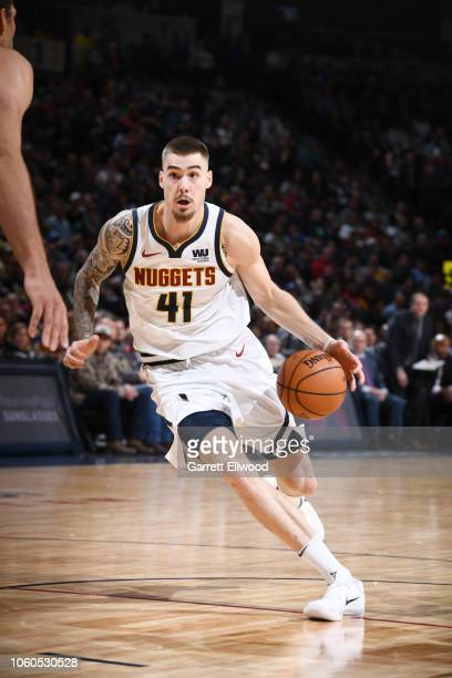 Juan Hernangomez of the Denver Nuggets drives to the basket during the game against the Milwaukee Bucks on November 11 2018 at the Pepsi Center in...