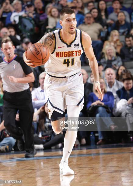 Juan Hernangomez of the Denver Nuggets handles the ball against the Dallas Mavericks on February 22 2019 at the American Airlines Center in Dallas...