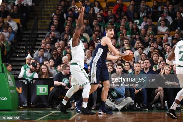 Juan Hernangomez of the Denver Nuggets handles the ball against the Boston Celtics on December 13 2017 at the TD Garden in Boston Massachusetts NOTE...