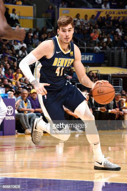 Juan Hernangomez of the Denver Nuggets handles the ball during the game against the Los Angeles Lakers during a preseason game on October 2 2017 at...