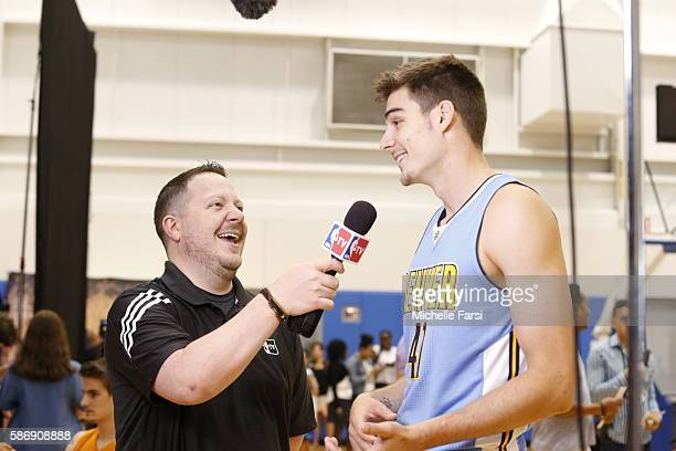 Juan Hernangomez of the Denver Nuggets is interviewed during the 2016 NBA rookie photo shoot on August 7 2016 at the Madison Square Garden Training...