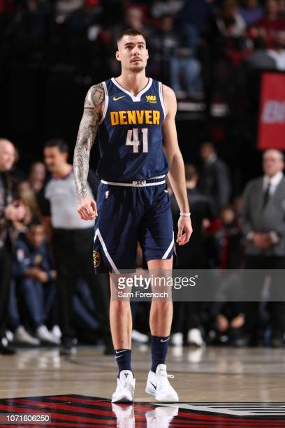 Juan Hernangomez of the Denver Nuggets looks on against the Portland Trail Blazers on November 30 2018 at the Moda Center in Portland Oregon NOTE TO...