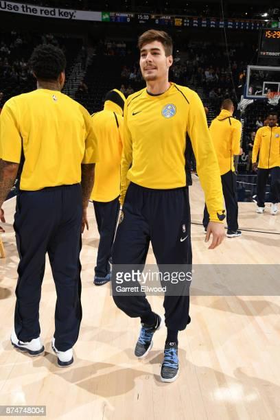 Juan Hernangomez of the Denver Nuggets looks on before the game against the Utah Jazz on October 18 2017 at vivintSmartHome Arena in Salt Lake City...