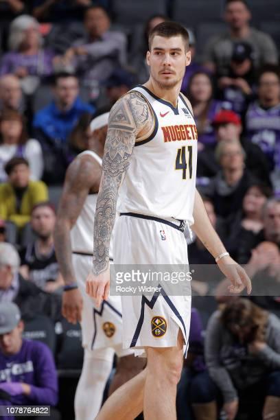 Juan Hernangomez of the Denver Nuggets looks on during the game against the Sacramento Kings on January 3 2019 at Golden 1 Center in Sacramento...