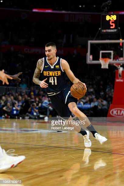 Juan Hernangomez of the Denver Nuggets plays against the Los Angeles Clippers on October 9 2018 at STAPLES Center in Los Angeles California NOTE TO...