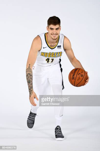 Juan Hernangomez of the Denver Nuggets poses for a photo during media day on September 25 2017 at the Pepsi Center in Denver Colorado NOTE TO USER...