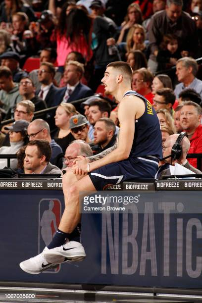 Juan Hernangomez of the Denver Nuggets prepares to check into the game against the Portland Trail Blazers on November 30 2018 at the Moda Center...