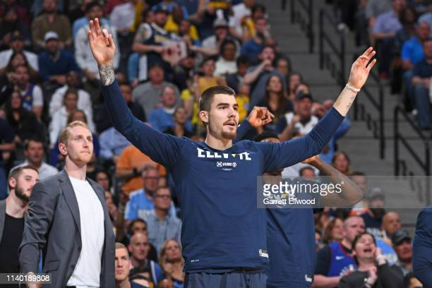 Juan Hernangomez of the Denver Nuggets reacts against the San Antonio Spurs during Game Seven of Round One of the 2019 NBA Playoffs on April 27 2019...