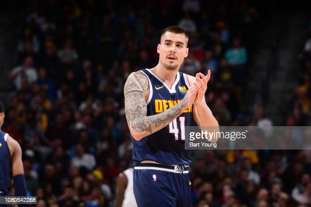 Juan Hernangomez of the Denver Nuggets reacts during a game against the LA Clippers on January 10 2019 at the Pepsi Center in Denver Colorado NOTE TO...