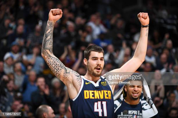 Juan Hernangomez of the Denver Nuggets reacts during a game against the Portland Trail Blazers on February 4 2020 at the Pepsi Center in Denver...