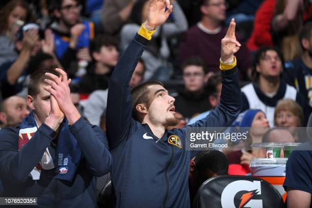 Juan Hernangomez of the Denver Nuggets reacts to a play during the game against the New York Knicks on January 1 2019 at the Pepsi Center in Denver...
