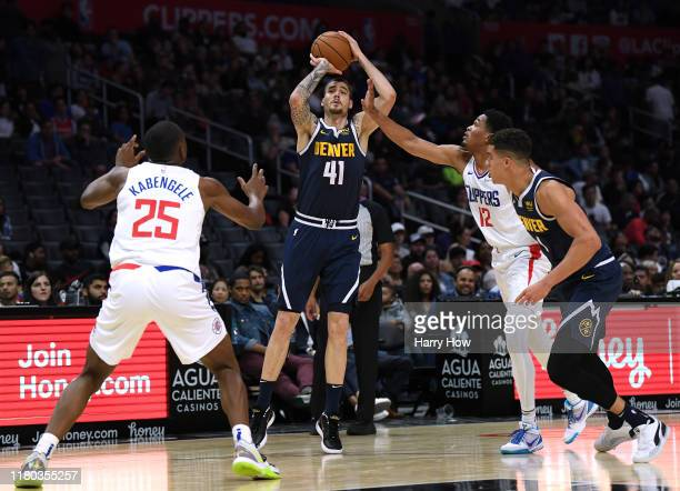 Juan Hernangomez of the Denver Nuggets shoots a jumper during a 11191 Nuggets preseason win at Staples Center on October 10 2019 in Los Angeles...