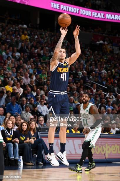 Juan Hernangomez of the Denver Nuggets shoots the ball against the Boston Celtics on November 5 2018 at the Pepsi Center in Denver Colorado NOTE TO...