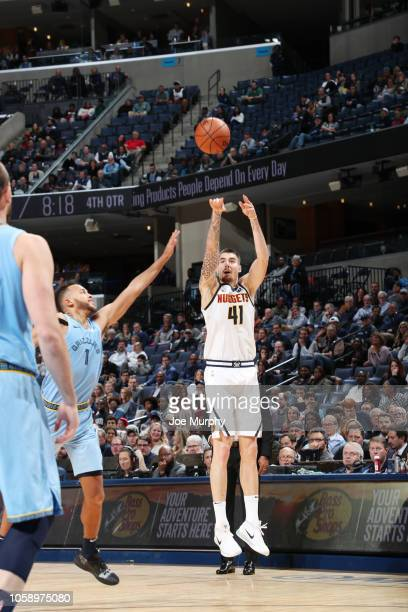 Juan Hernangomez of the Denver Nuggets shoots the ball against the Memphis Grizzlies on November 7 2018 at FedExForum in Memphis Tennessee NOTE TO...