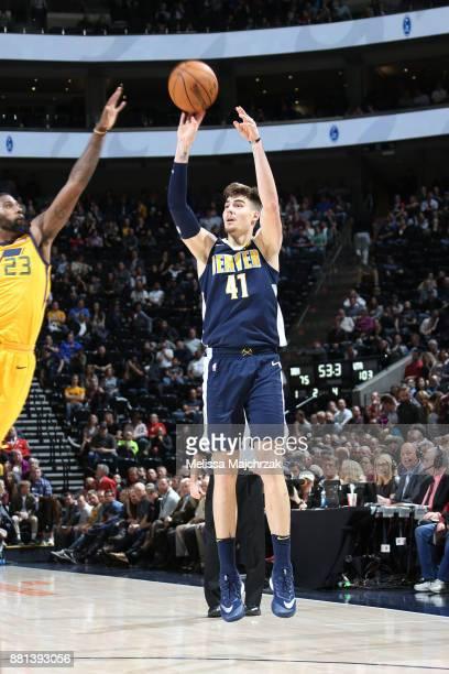 Juan Hernangomez of the Denver Nuggets shoots the ball against the Utah Jazz on November 28 2017 at vivintSmartHome Arena in Salt Lake City Utah NOTE...