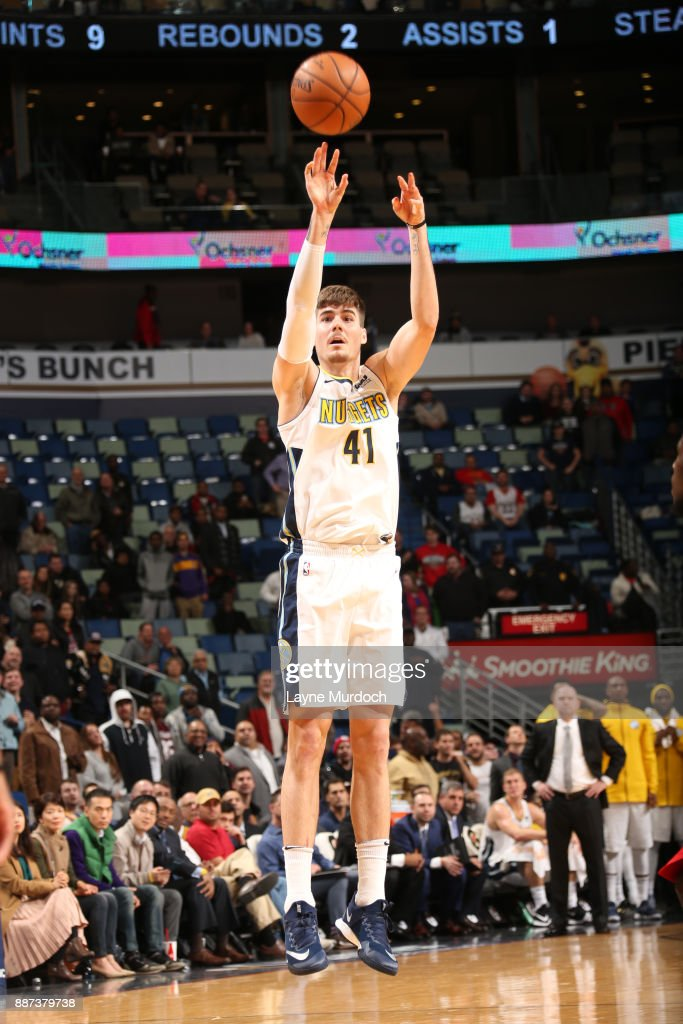 Juan Hernangomez #41 of the Denver Nuggets shoots the ball against the New Orleans Pelicans on December 6, 2017 at Smoothie King Center in New Orleans, Louisiana.