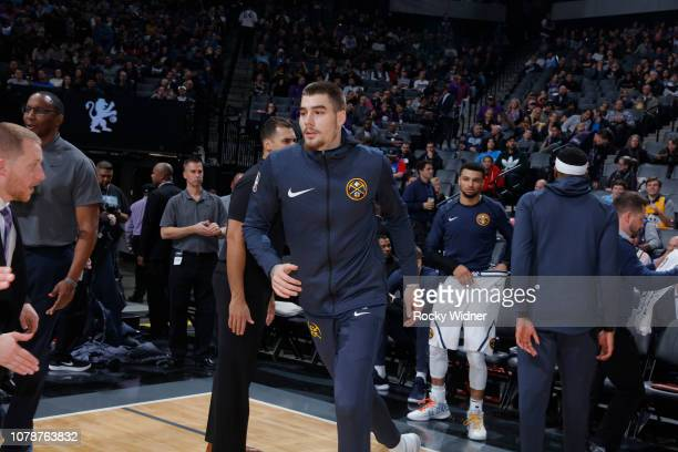 Juan Hernangomez of the Denver Nuggets warms up against the Sacramento Kings on January 3 2019 at Golden 1 Center in Sacramento California NOTE TO...